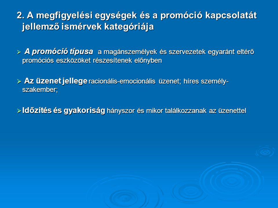 2. A megfigyelési egységek és a promóció kapcsolatát jellemző ismérvek kategóriája  A promóció típusa a magánszemélyek és szervezetek egyaránt eltérő