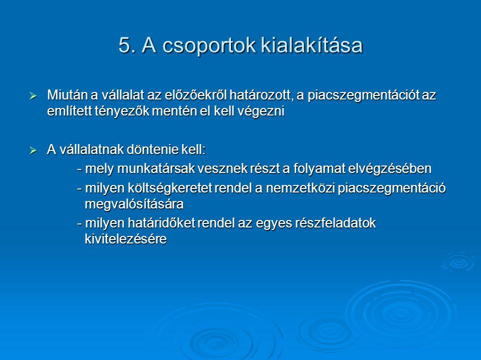5. A csoportok kialakítása  Miután a vállalat az előzőekről határozott, a piacszegmentációt az említett tényezők mentén el kell végezni  A vállalatn