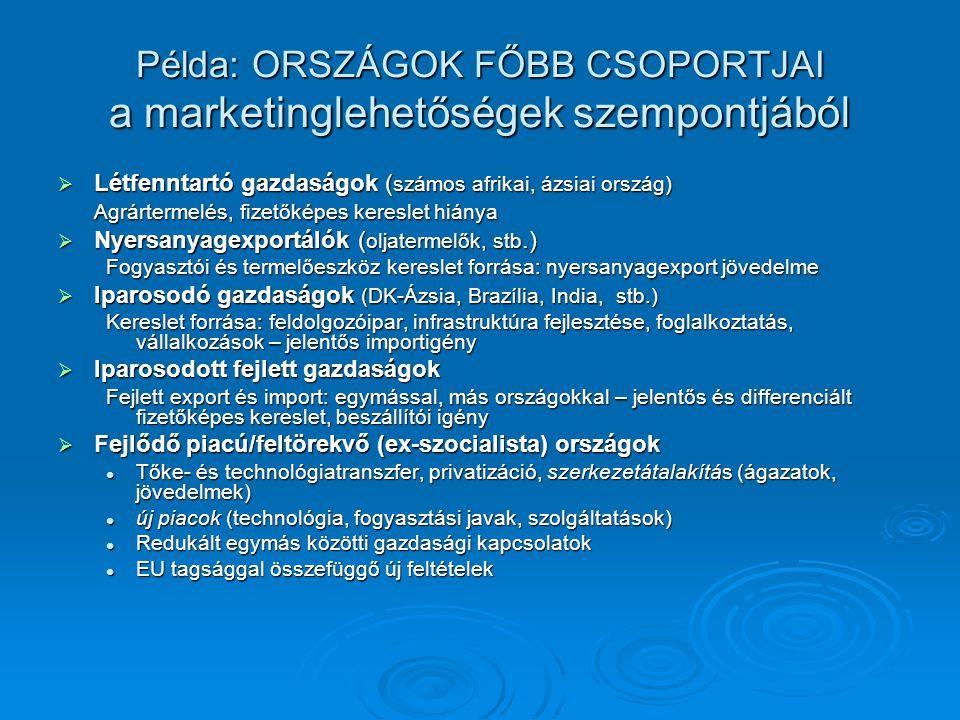 Példa: ORSZÁGOK FŐBB CSOPORTJAI a marketinglehetőségek szempontjából  Létfenntartó gazdaságok ( számos afrikai, ázsiai ország) Agrártermelés, fizetők