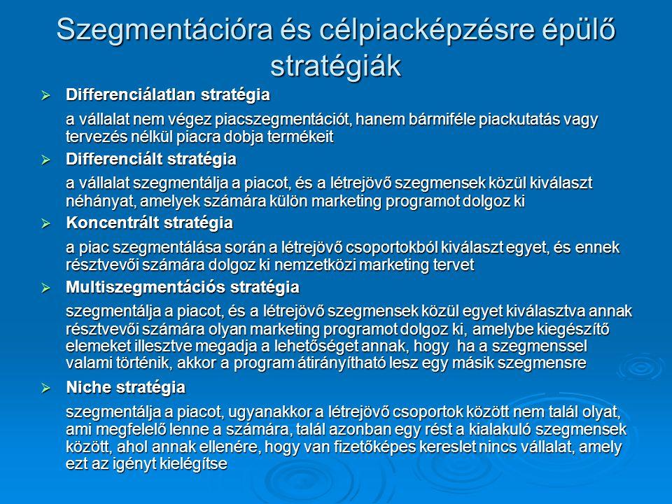 Szegmentációra és célpiacképzésre épülő stratégiák  Differenciálatlan stratégia a vállalat nem végez piacszegmentációt, hanem bármiféle piackutatás v