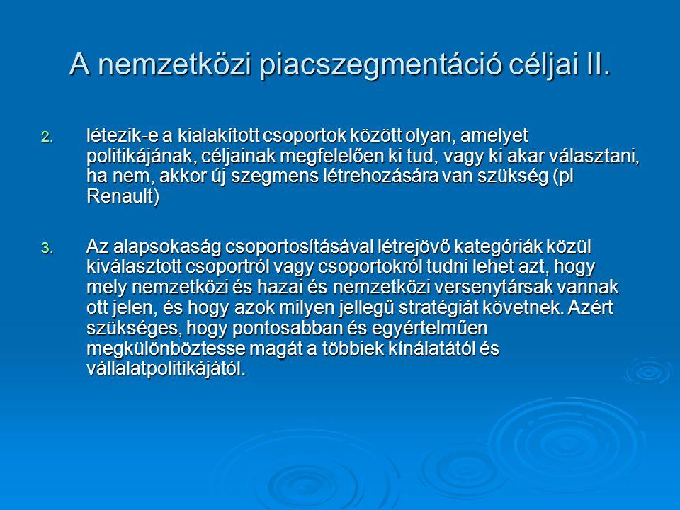 A nemzetközi piacszegmentáció lépései 1.A szervezet céljainak, lehetőségeinek számbavétele 2.