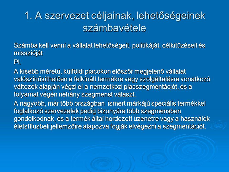 1. A szervezet céljainak, lehetőségeinek számbavétele Számba kell venni a vállalat lehetőségeit, politikáját, célkitűzéseit és misszióját Pl. A kisebb