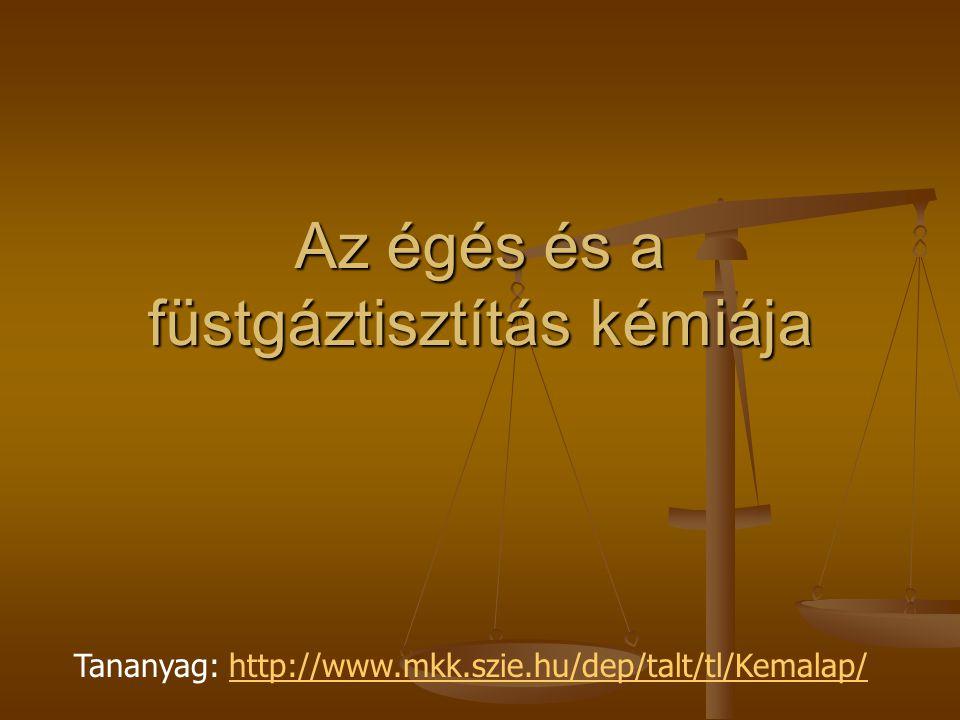 Az égés és a füstgáztisztítás kémiája Tananyag: http://www.mkk.szie.hu/dep/talt/tl/Kemalap/http://www.mkk.szie.hu/dep/talt/tl/Kemalap/