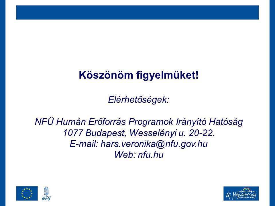 Köszönöm figyelmüket! Elérhetőségek: NFÜ Humán Erőforrás Programok Irányító Hatóság 1077 Budapest, Wesselényi u. 20-22. E-mail: hars.veronika@nfu.gov.