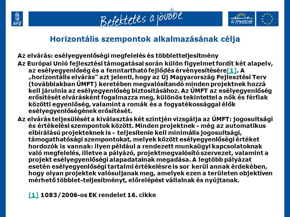 Horizontális szempontok alkalmazásának célja Az elvárás: esélyegyenlőségi megfelelés és többletteljesítmény Az Európai Unió fejlesztési támogatásai so