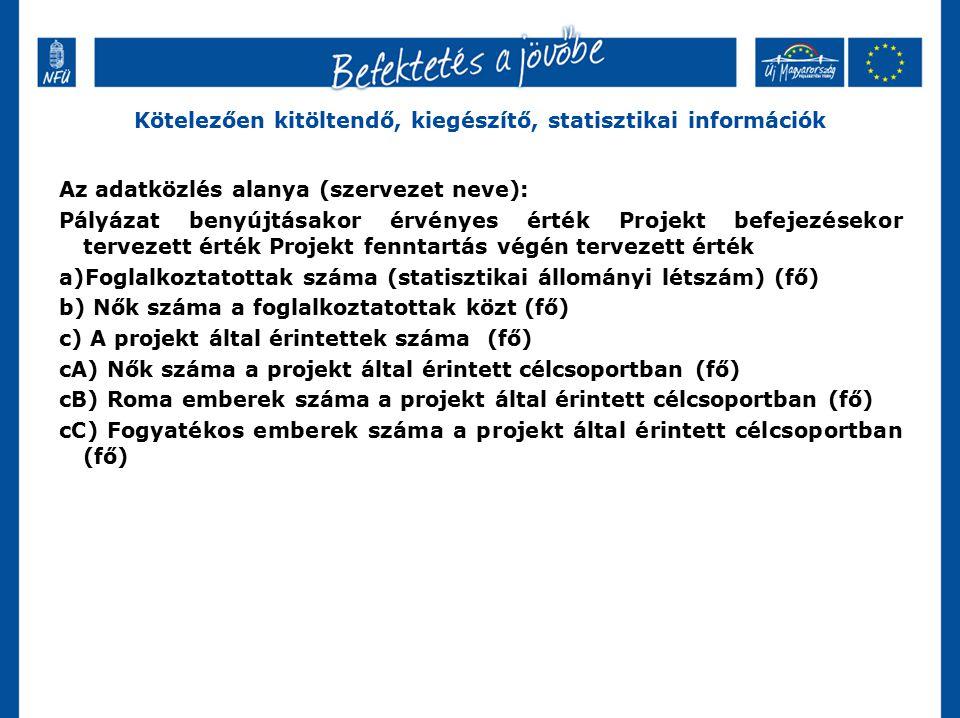 Kötelezően kitöltendő, kiegészítő, statisztikai információk Az adatközlés alanya (szervezet neve): Pályázat benyújtásakor érvényes érték Projekt befej