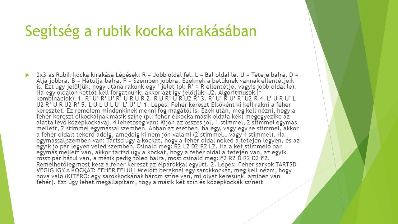 Segítség a rubik kocka kirakásában  3x3-as Rubik kocka kirakása Lépések: R = Jobb oldal fel.
