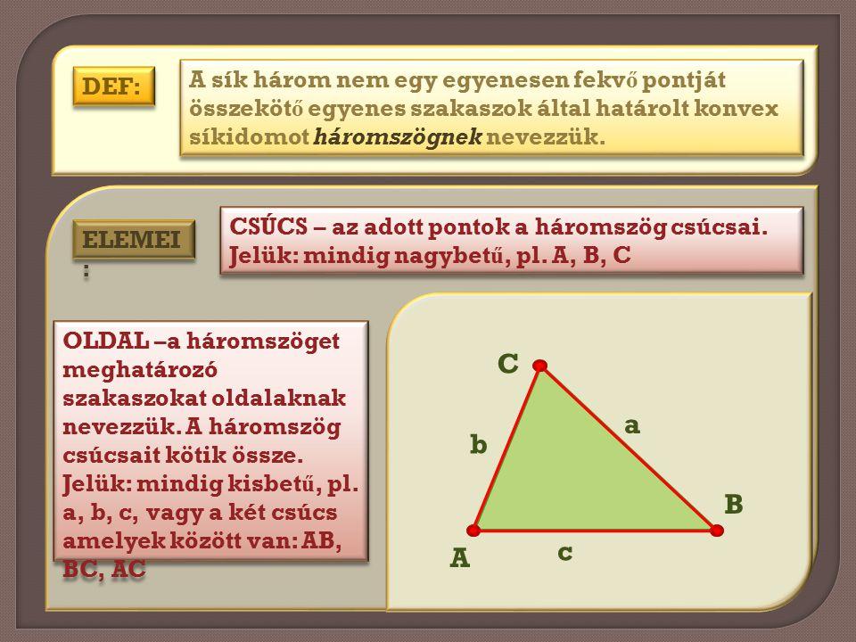 DEF: A sík három nem egy egyenesen fekv ő pontját összeköt ő egyenes szakaszok által határolt konvex síkidomot háromszögnek nevezzük. ELEMEI : CSÚCS –