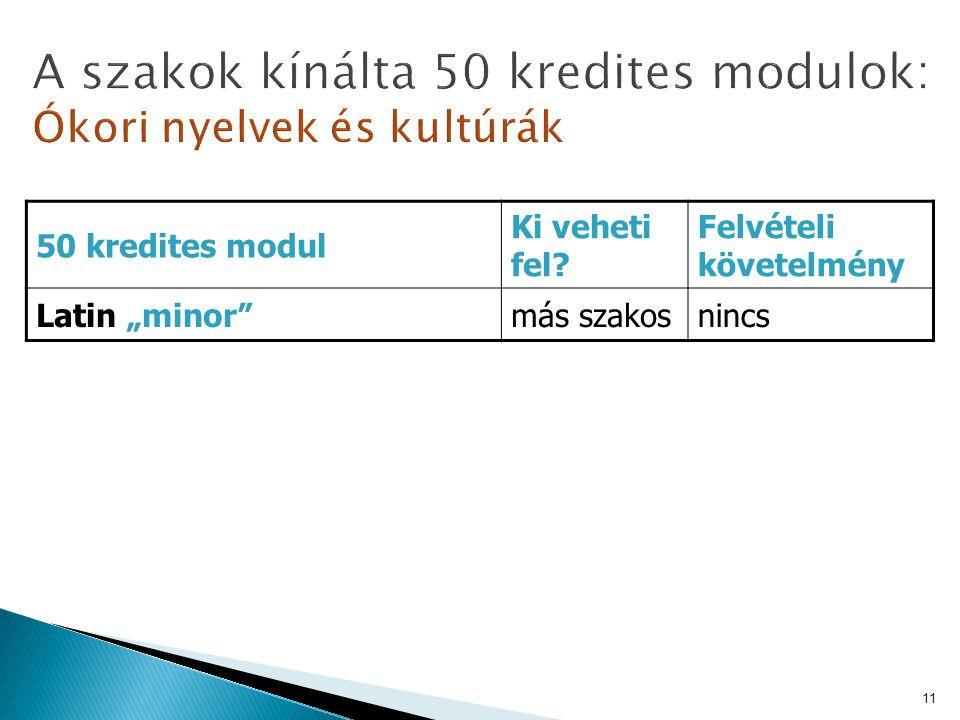 """50 kredites modul Ki veheti fel? Felvételi követelmény Latin """"minor""""más szakosnincs 11"""