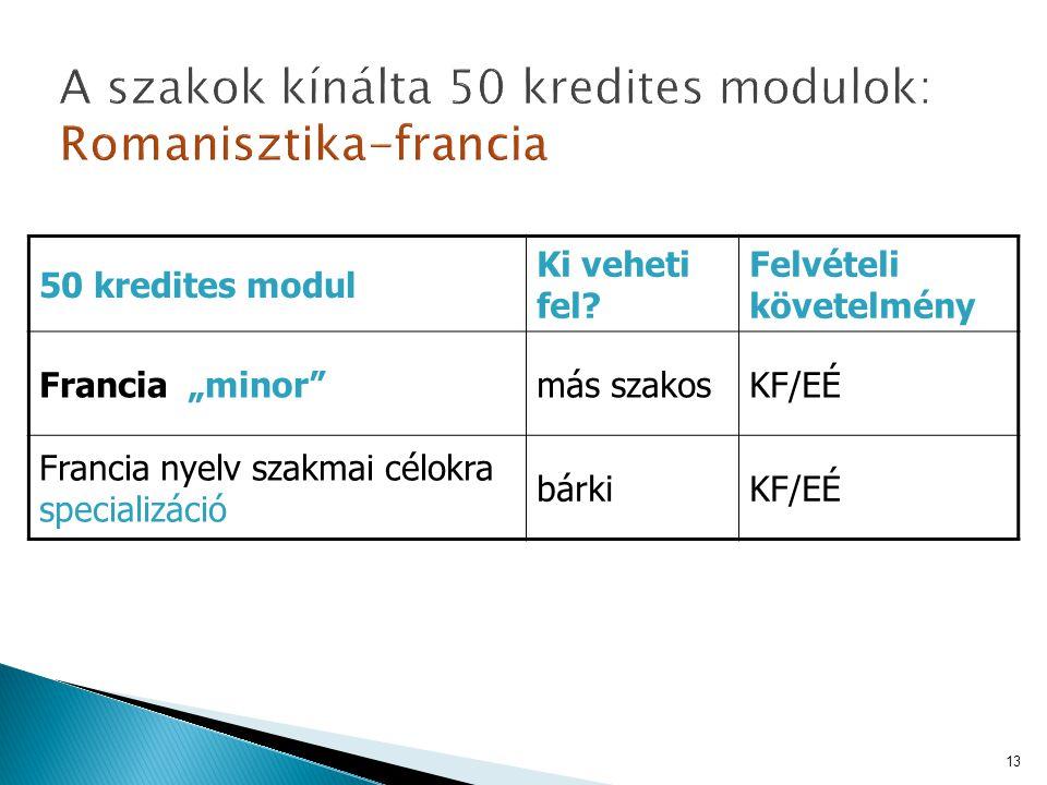 """50 kredites modul Ki veheti fel? Felvételi követelmény Francia """"minor""""más szakosKF/EÉ Francia nyelv szakmai célokra specializáció bárkiKF/EÉ 13"""