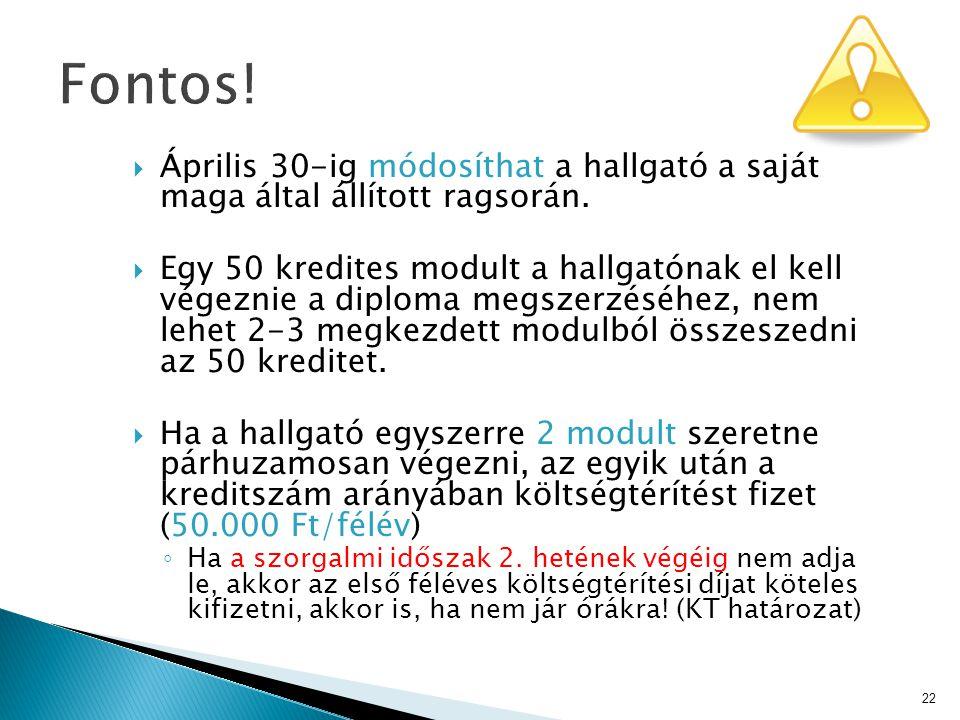  Április 30-ig módosíthat a hallgató a saját maga által állított ragsorán.  Egy 50 kredites modult a hallgatónak el kell végeznie a diploma megszerz