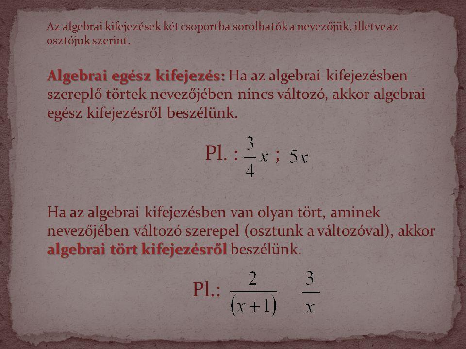 Az algebrai kifejezések két csoportba sorolhatók a nevezőjük, illetve az osztójuk szerint.