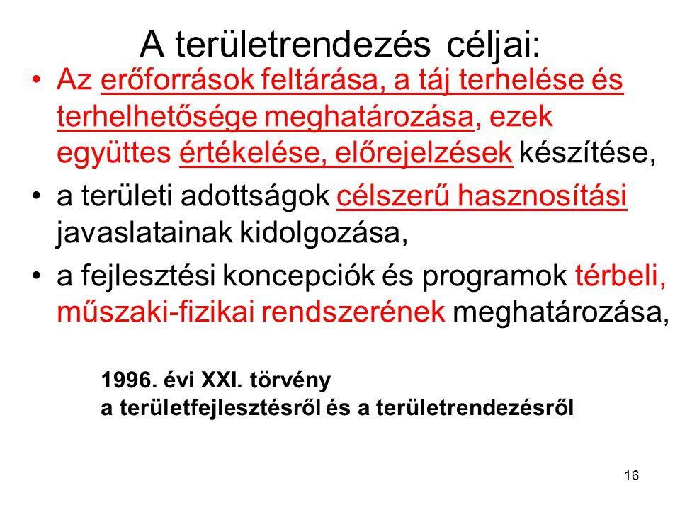 """"""" a térszerkezeti elemek azonosítása, a térszerkezet időbeli alakulása, a térségi területfelhasználás változásai, tendenciák értékelése """" 1.melléklet a 218/2009."""