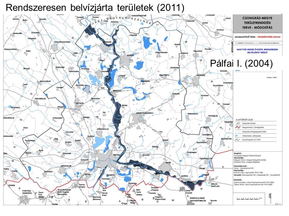 Rendszeresen belvízjárta területek (2005, 2011)