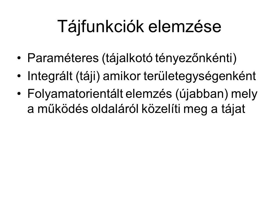 Geoökológiai tájelemzés lépései (Geoökológiai tájanalízis) 1.Koncepcionális fázis (vizsgálati cél megfogalmazása, modellalkotás) 2.Fő szakasz terepi és labormunkák 3.Geoökológiai viszonyok leírása 4.A tájfunkciók elemzése (víz, anyagkörforgások) 5.Geoökológiai szintézis (ökotóptérképek, tájháztartási elemzések)