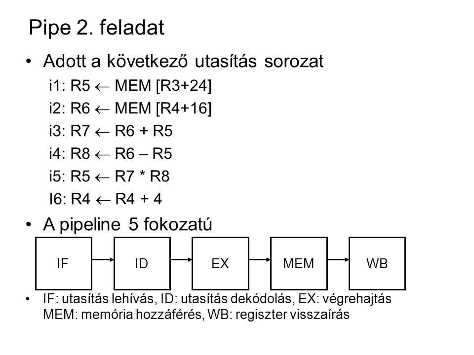 Pipe 2.feladat a. kérdés Adat-egymásrahatások.