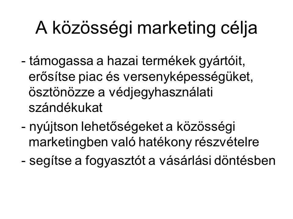 A közösségi marketing célja - támogassa a hazai termékek gyártóit, erősítse piac és versenyképességüket, ösztönözze a védjegyhasználati szándékukat - nyújtson lehetőségeket a közösségi marketingben való hatékony részvételre - segítse a fogyasztót a vásárlási döntésben