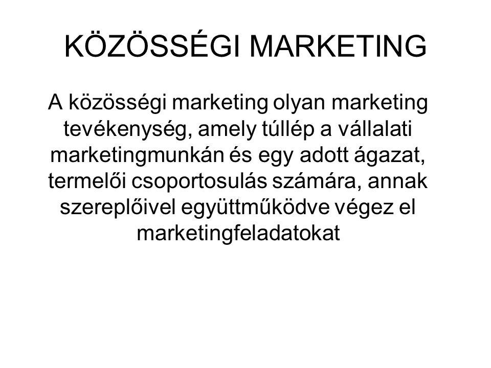 KÖZÖSSÉGI MARKETING A közösségi marketing olyan marketing tevékenység, amely túllép a vállalati marketingmunkán és egy adott ágazat, termelői csoportosulás számára, annak szereplőivel együttműködve végez el marketingfeladatokat