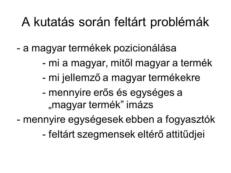 """A kutatás során feltárt problémák - a magyar termékek pozicionálása - mi a magyar, mitől magyar a termék - mi jellemző a magyar termékekre - mennyire erős és egységes a """"magyar termék imázs - mennyire egységesek ebben a fogyasztók - feltárt szegmensek eltérő attitűdjei"""