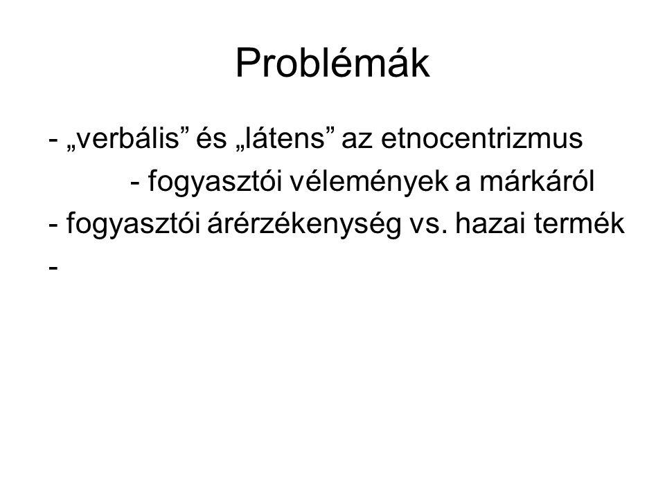 """Problémák - """"verbális és """"látens az etnocentrizmus - fogyasztói vélemények a márkáról - fogyasztói árérzékenység vs."""