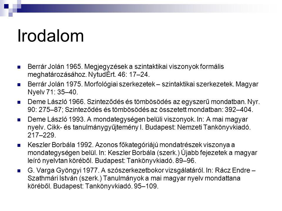Irodalom Berrár Jolán 1965. Megjegyzések a szintaktikai viszonyok formális meghatározásához. NytudÉrt. 46: 17–24. Berrár Jolán 1975. Morfológiai szerk