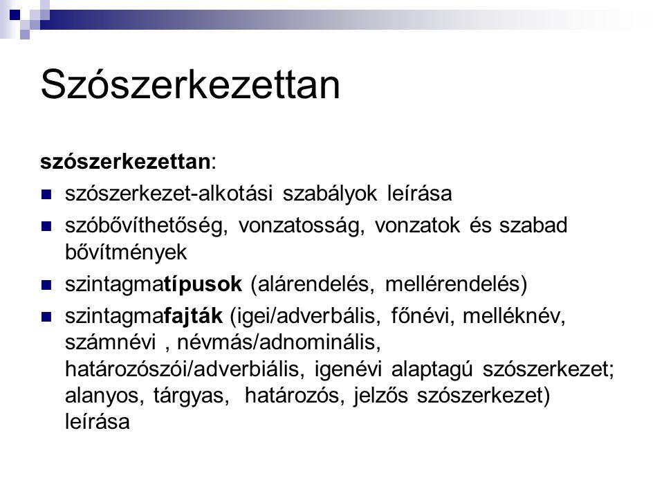 Szintaxis szintaxis: mondatszerkezetet meghatározó szabályok leírása mondatszerkezeti típusok meghatározása (egyszerű, összetett, alá, mellérendelő stb.)