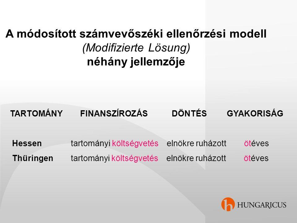 A módosított számvevőszéki ellenőrzési modell (Modifizierte Lösung) néhány jellemzője TARTOMÁNY FINANSZÍROZÁS DÖNTÉS GYAKORISÁG Hessen tartományi költ