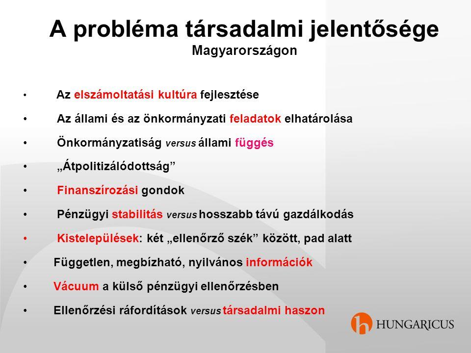 A probléma szakmai aktualitása Magyarországon Tisztázatlan ellenőrzési cél Tisztázatlan ellenőrzési típus Tisztázatlan (hiányzó) ellenőrzési módszerek Ellentmondásos törvényi szabályozás Jogszabály versus standard Terminológiai nehézségek Pénzforgalmi versus eredményszemléletű számvitel MKVK – ÁSZ – együttműködés Oktatás, szakképzés (államszámvitel, államjog) Ellenőrök nyelvi és szakmai felkészültsége
