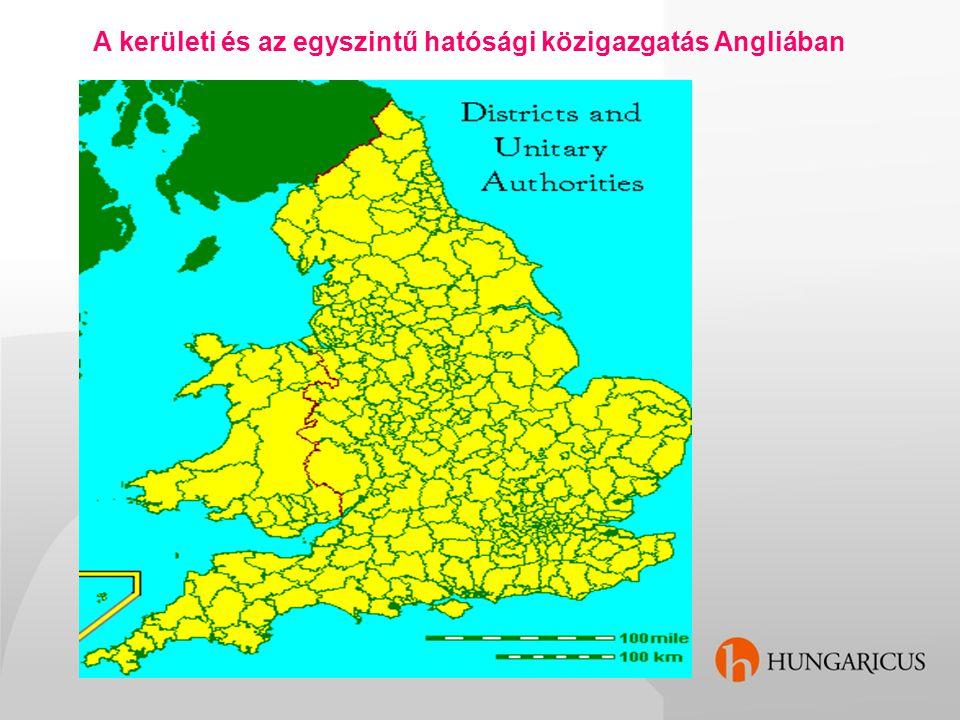 A kerületi és az egyszintű hatósági közigazgatás Angliában