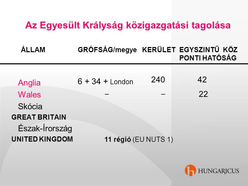 Az Egyesült Krályság közigazgatási tagolása ÁLLAM Anglia Wales Skócia GREAT BRITAIN Észak-Írország UNITED KINGDOM GRÓFSÁG/megye 6 + 34 + London KERÜLE