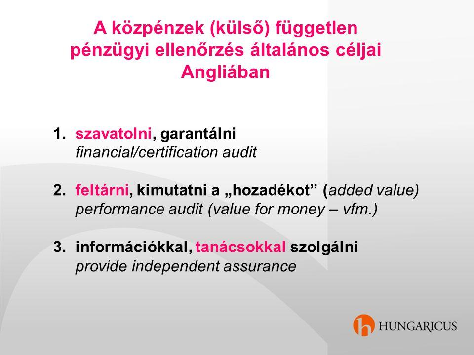 A közpénzek (külső) független pénzügyi ellenőrzés általános céljai Angliában 1. szavatolni, garantálni financial/certification audit 2. feltárni, kimu