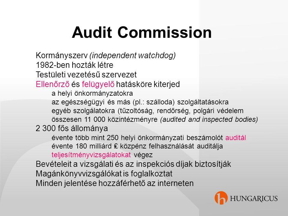 Audit Commission Kormányszerv (independent watchdog) 1982-ben hozták létre Testületi vezetésű szervezet Ellenőrző és felügyelő hatásköre kiterjed a he