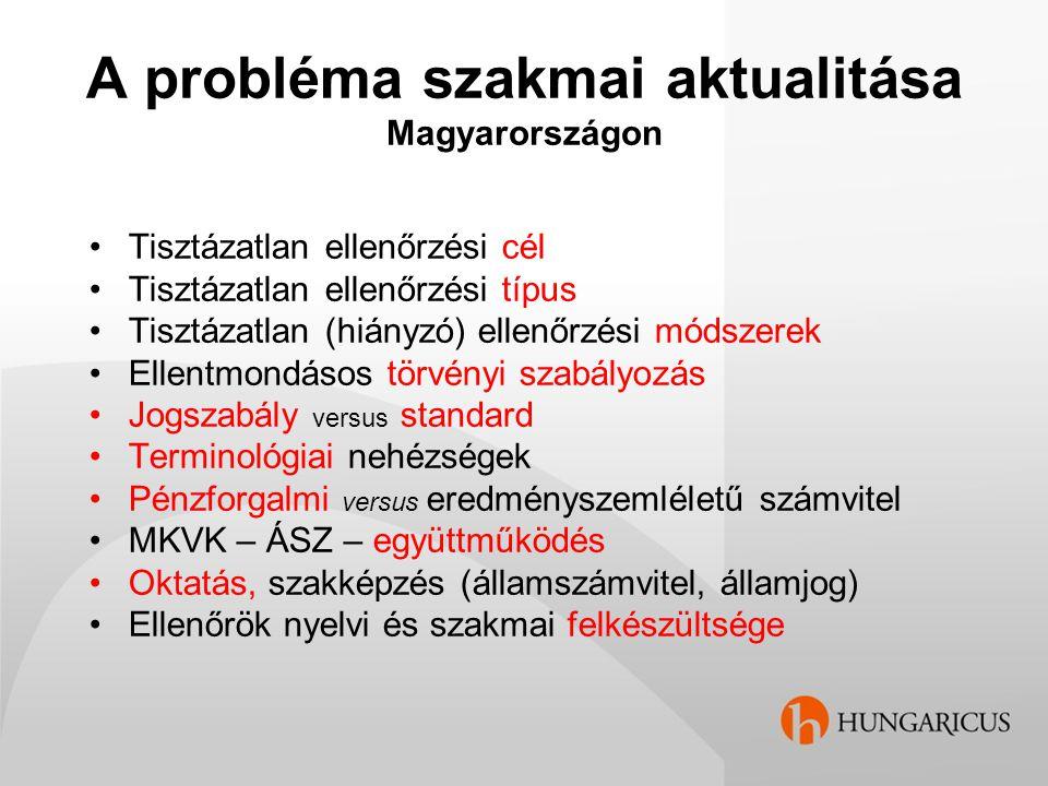A probléma szakmai aktualitása Magyarországon Tisztázatlan ellenőrzési cél Tisztázatlan ellenőrzési típus Tisztázatlan (hiányzó) ellenőrzési módszerek