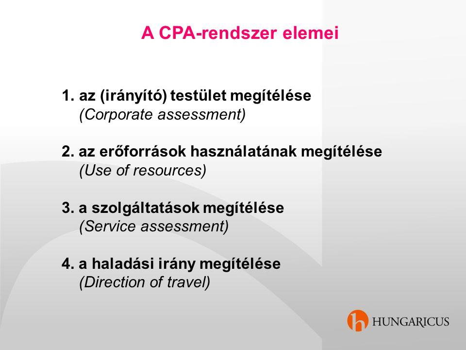 1.az (irányító) testület megítélése (Corporate assessment) 2. az erőforrások használatának megítélése (Use of resources) 3. a szolgáltatások megítélés