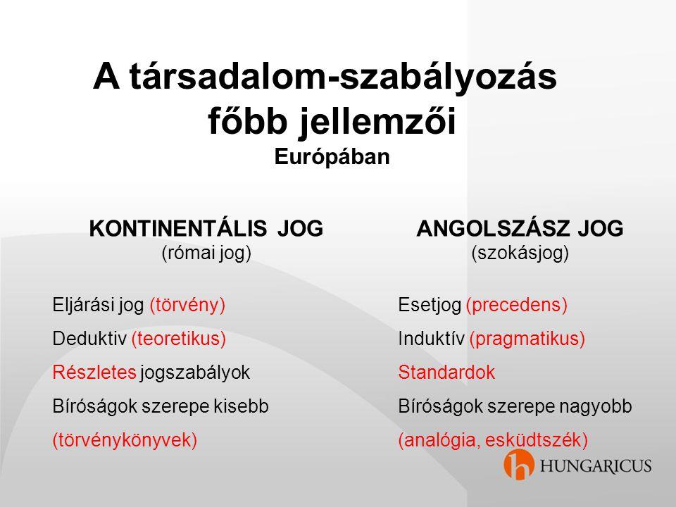 A társadalom-szabályozás főbb jellemzői Európában KONTINENTÁLIS JOG (római jog) Eljárási jog (törvény) Deduktiv (teoretikus) Részletes jogszabályok Bí