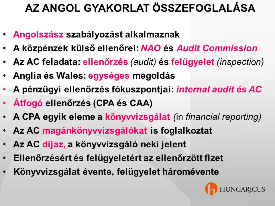 AZ ANGOL GYAKORLAT ÖSSZEFOGLALÁSA Angolszász szabályozást alkalmaznak A közpénzek külső ellenőrei: NAO és Audit Commission Az AC feladata: ellenőrzés