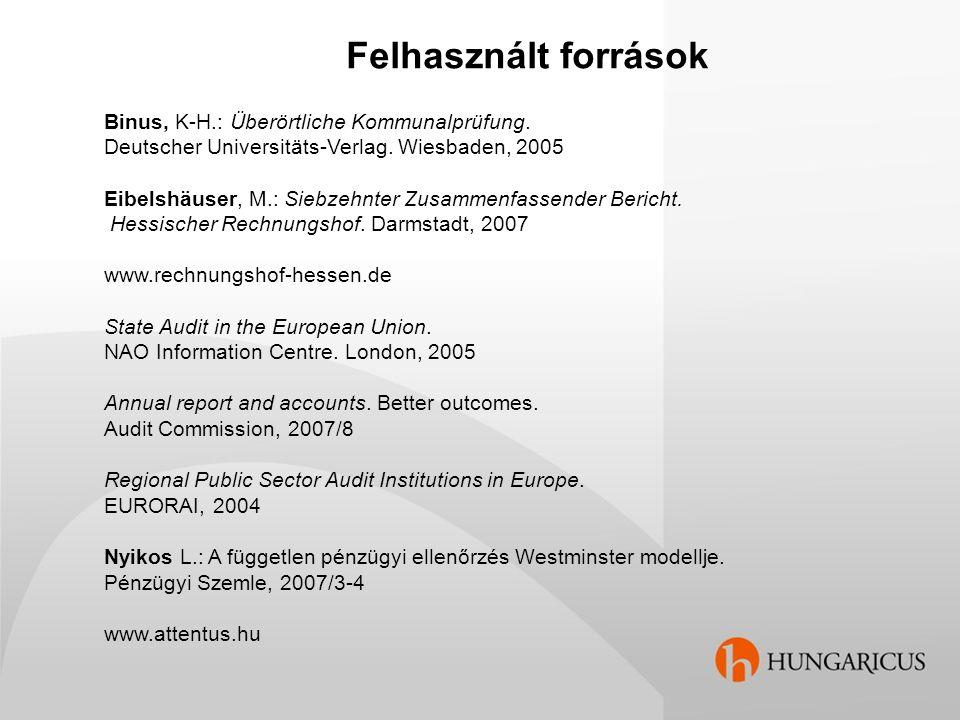 Felhasznált források Binus, K-H.: Überörtliche Kommunalprüfung. Deutscher Universitäts-Verlag. Wiesbaden, 2005 Eibelshäuser, M.: Siebzehnter Zusammenf