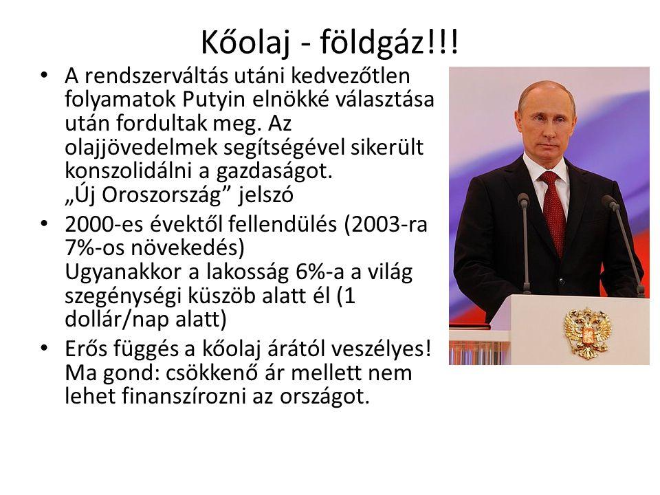 Kőolaj - földgáz!!! A rendszerváltás utáni kedvezőtlen folyamatok Putyin elnökké választása után fordultak meg. Az olajjövedelmek segítségével sikerül