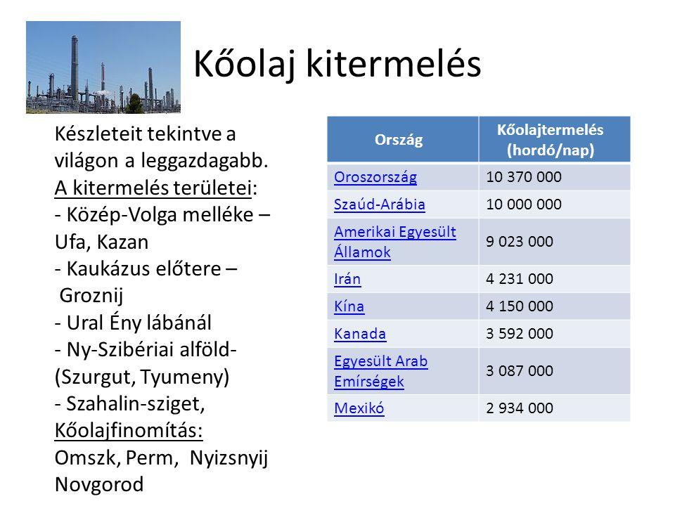 Kőolaj kitermelés Ország Kőolajtermelés (hordó/nap) Oroszország10 370 000 Szaúd-Arábia10 000 000 Amerikai Egyesült Államok 9 023 000 Irán4 231 000 Kín