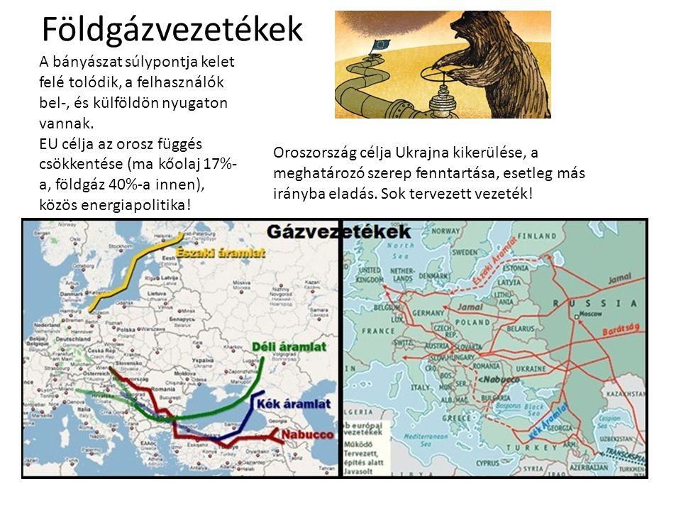 Földgázvezetékek A bányászat súlypontja kelet felé tolódik, a felhasználók bel-, és külföldön nyugaton vannak. EU célja az orosz függés csökkentése (m