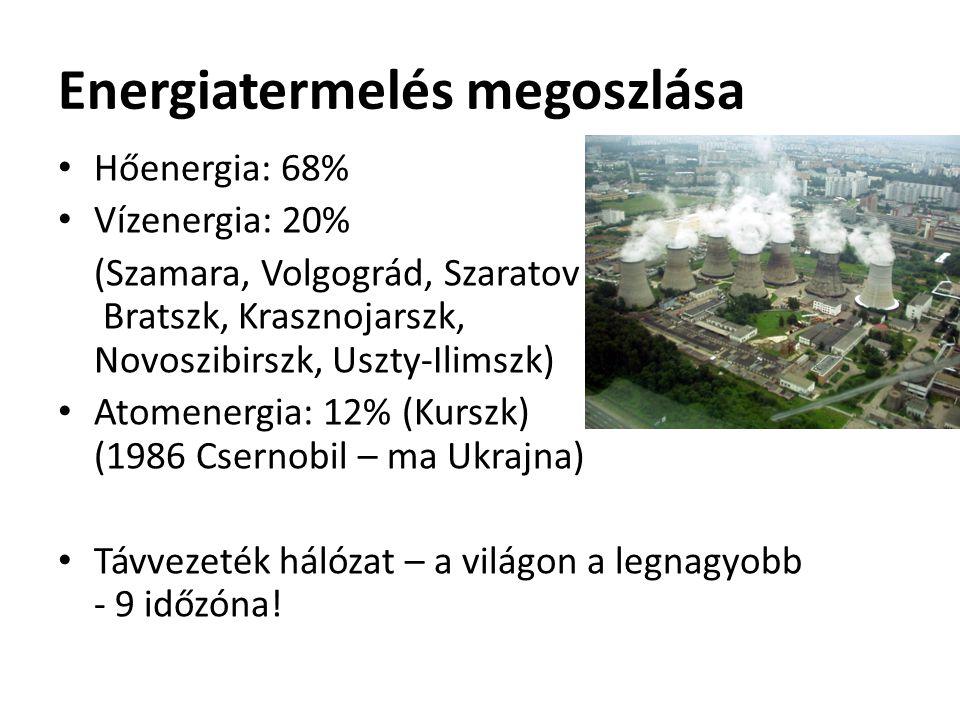 Energiatermelés megoszlása Hőenergia: 68% Vízenergia: 20% (Szamara, Volgográd, Szaratov Bratszk, Krasznojarszk, Novoszibirszk, Uszty-Ilimszk) Atomenergia: 12% (Kurszk) (1986 Csernobil – ma Ukrajna) Távvezeték hálózat – a világon a legnagyobb - 9 időzóna!