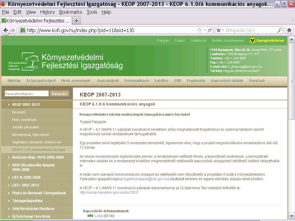 """KEOP 6.1.0/B – kimerülőben a 2011-es keret A vállalkozói szektoron kívül szinte bárki pályázhat Szigorú, de kiszámítható pályáztatás – folyamatos pályázati tanácsadás (előzetes, HP, TK) A környezeti nevelési és a kommunikációs szektor házassága, melynek gyümölcse: – kreatív és releváns FÉF üzenet, """"ötlet : lakossági, fogyasztási és/vagy életmódpanelek megváltoztatása – hatékony (olcsó) és hatásos (profi) kommunikáció A kreativitás teret kap, de minden ötletet a megadott MT sémába kell illeszteni (hatékony és transzparens elbírálás) – az MT valóban MT legyen (helyzetelemzés, célcsoport, cél, tevékenységek, költségek)"""
