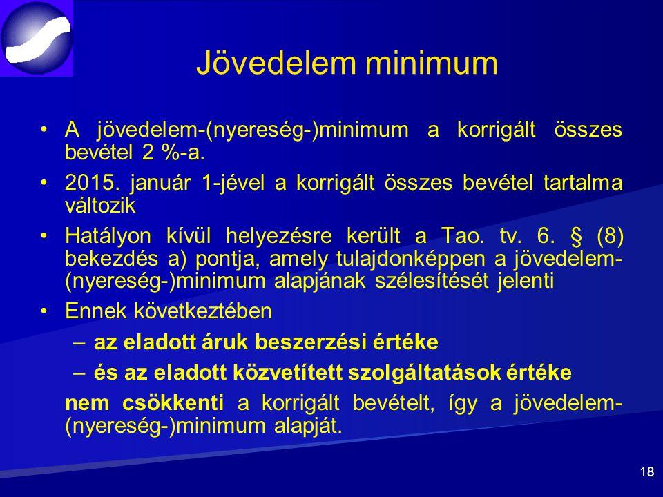 Jövedelem minimum A jövedelem-(nyereség-)minimum a korrigált összes bevétel 2 %-a.