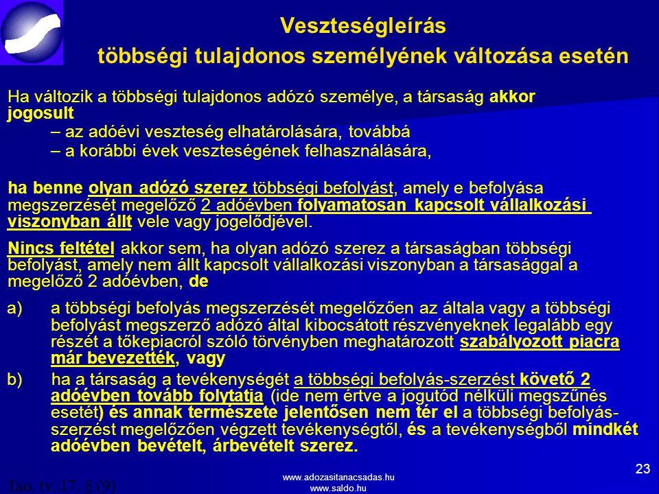 www.adozasitanacsadas.hu www.saldo.hu Veszteségleírás többségi tulajdonos személyének változása esetén Ha változik a többségi tulajdonos adózó személye, a társaság akkor jogosult – az adóévi veszteség elhatárolására, továbbá – a korábbi évek veszteségének felhasználására, ha benne olyan adózó szerez többségi befolyást, amely e befolyása megszerzését megelőző 2 adóévben folyamatosan kapcsolt vállalkozási viszonyban állt vele vagy jogelődjével.