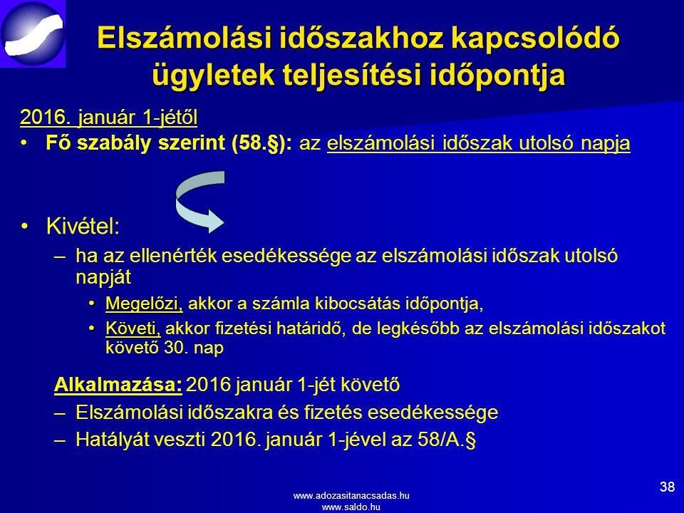 www.adozasitanacsadas.hu www.saldo.hu Elszámolási időszakhoz kapcsolódó ügyletek teljesítési időpontja 2016.