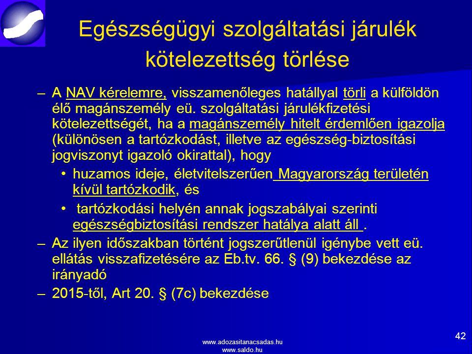 www.adozasitanacsadas.hu www.saldo.hu Egészségügyi szolgáltatási járulék kötelezettség törlése – –A NAV kérelemre, visszamenőleges hatállyal törli a külföldön élő magánszemély eü.