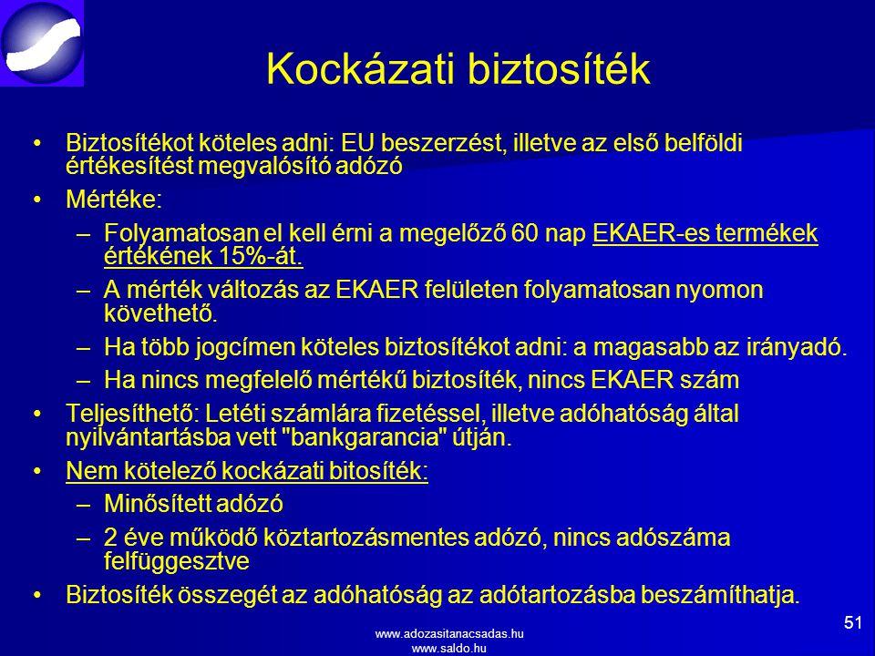 www.adozasitanacsadas.hu www.saldo.hu Kockázati biztosíték Biztosítékot köteles adni: EU beszerzést, illetve az első belföldi értékesítést megvalósító adózó Mértéke: – –Folyamatosan el kell érni a megelőző 60 nap EKAER-es termékek értékének 15%-át.