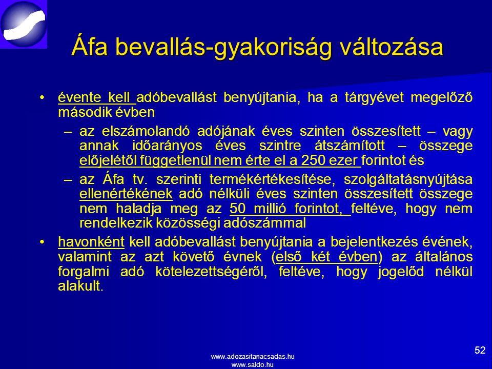 www.adozasitanacsadas.hu www.saldo.hu Áfa bevallás-gyakoriság változása évente kell adóbevallást benyújtania, ha a tárgyévet megelőző második évben – –az elszámolandó adójának éves szinten összesített – vagy annak időarányos éves szintre átszámított – összege előjelétől függetlenül nem érte el a 250 ezer forintot és – –az Áfa tv.