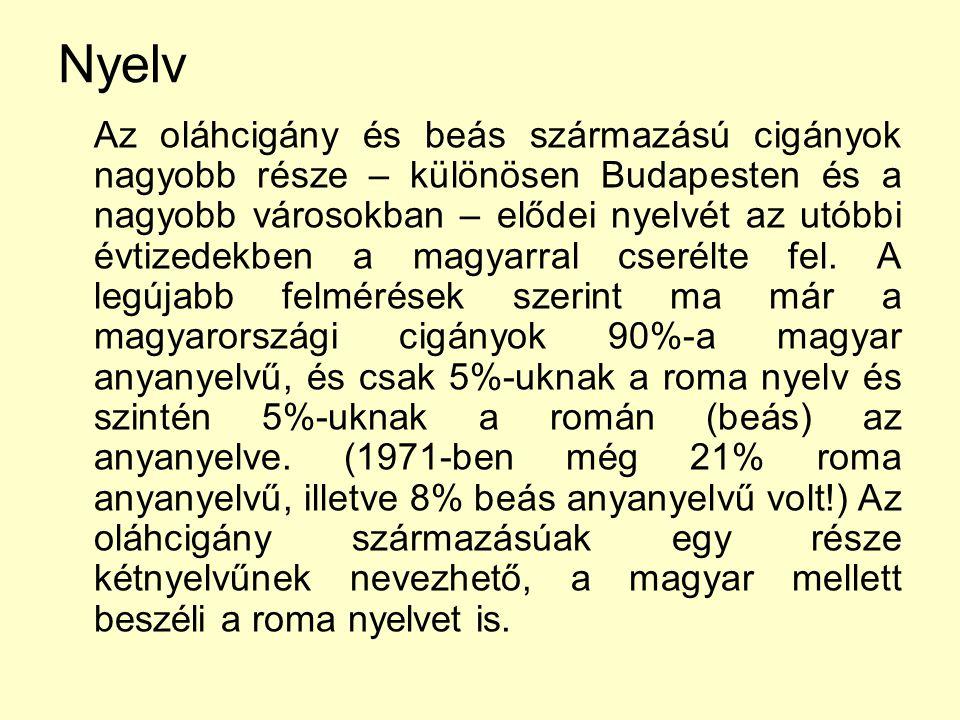 Nyelv Az oláhcigány és beás származású cigányok nagyobb része – különösen Budapesten és a nagyobb városokban – elődei nyelvét az utóbbi évtizedekben a