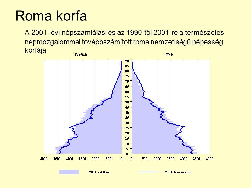 Roma korfa A 2001. évi népszámlálási és az 1990-től 2001-re a természetes népmozgalommal továbbszámított roma nemzetiségű népesség korfája